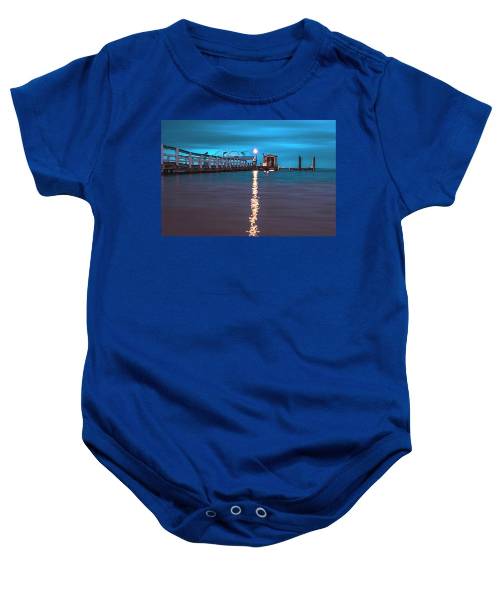Pier Baby Onesie featuring the photograph Bokeelia Pier by Michael Frizzell