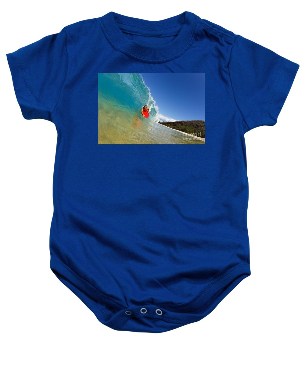 Action Baby Onesie featuring the photograph Boogie Boarding At Makena by MakenaStockMedia - Printscapes