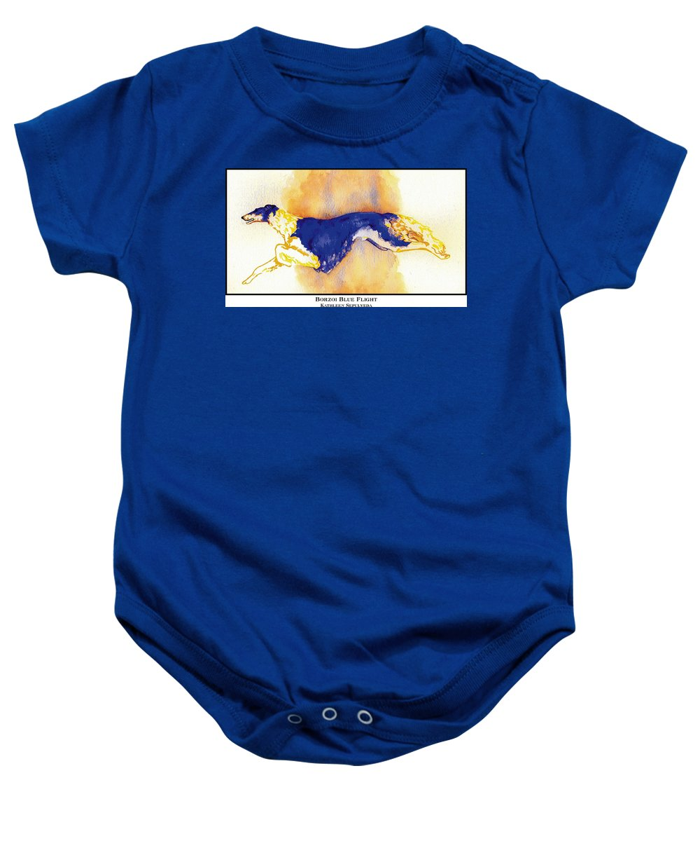 Borzoi Baby Onesie featuring the digital art Borzoi Blue Flight by Kathleen Sepulveda