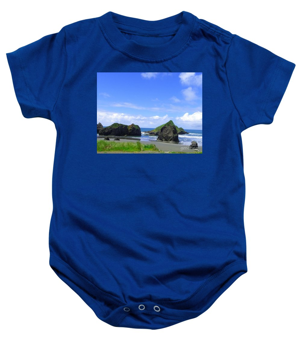 Seascape Baby Onesie featuring the photograph Boulders In Oregon by Charleen Treasures