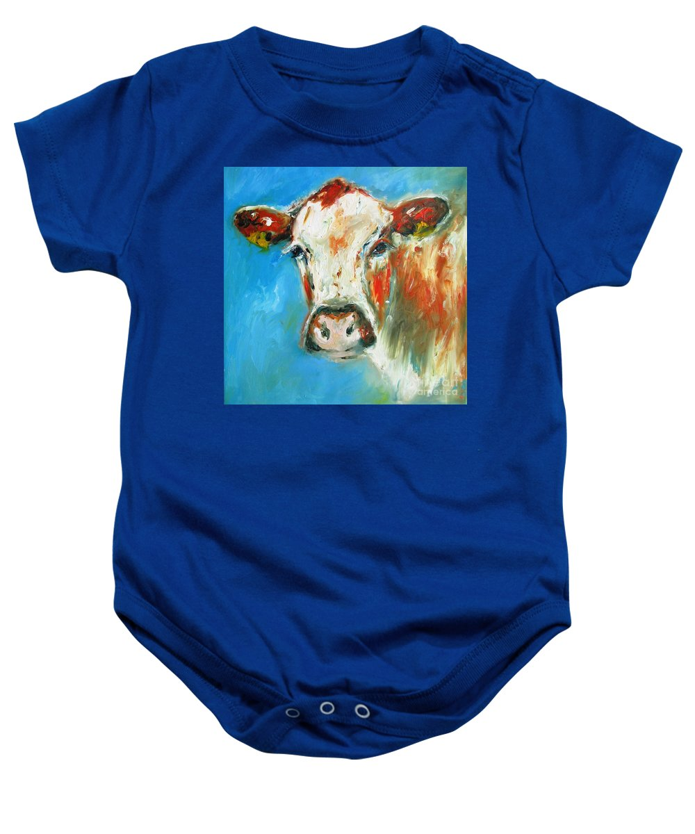 Cow Baby Onesie featuring the painting Bovine On Blue by Mary Cahalan Lee- aka PIXI