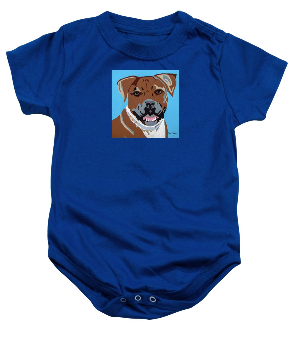 Boxer Baby Onesie featuring the painting Boxer by Slade Roberts