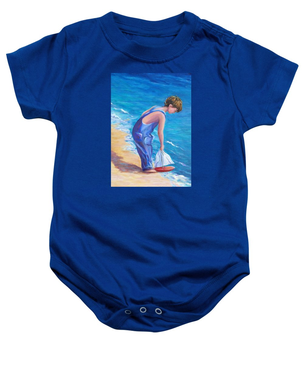 Boy Baby Onesie featuring the painting Boy At The Beach by Rosie Sherman