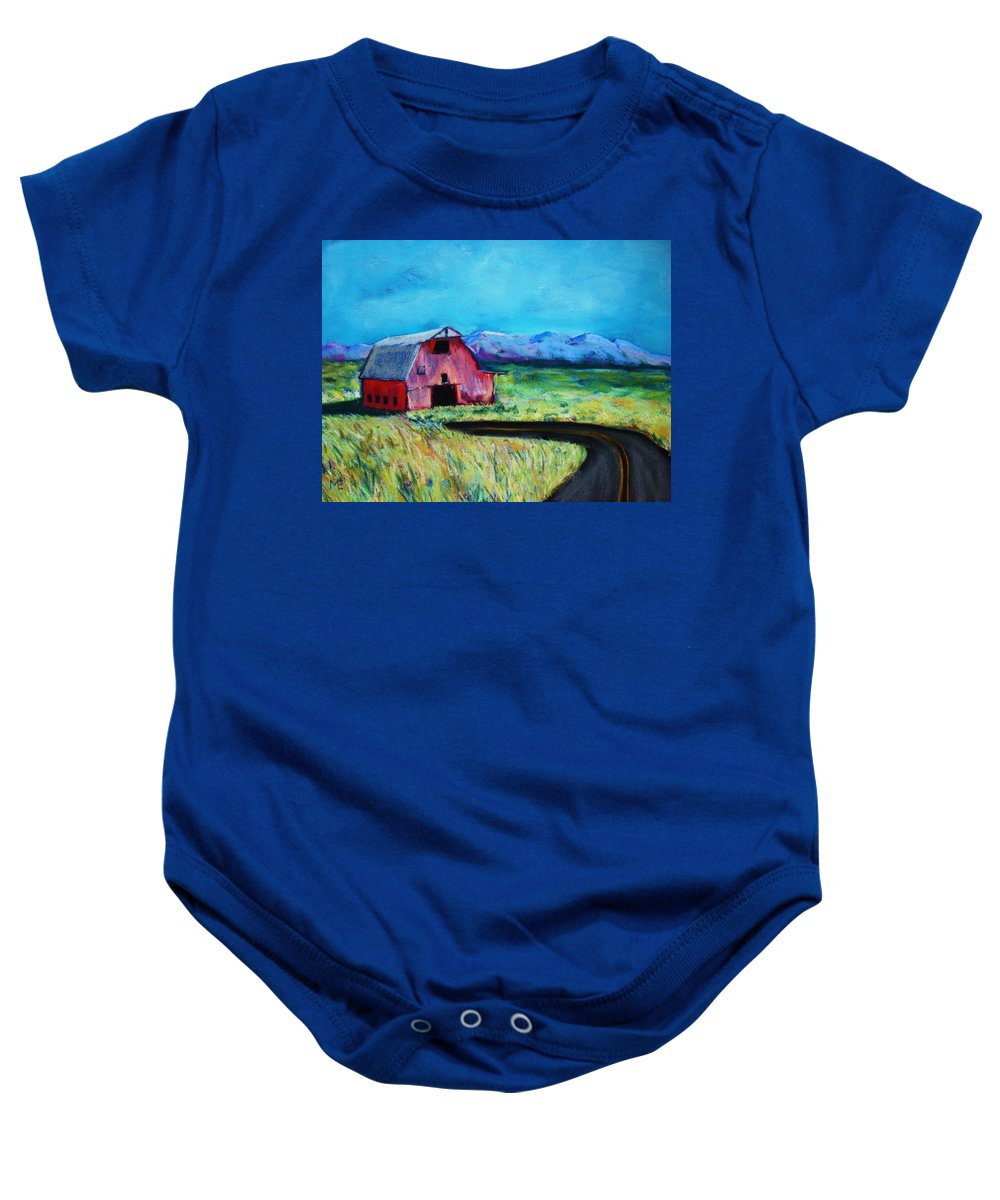Barn Baby Onesie featuring the pastel Bradley's Barn by Melinda Etzold