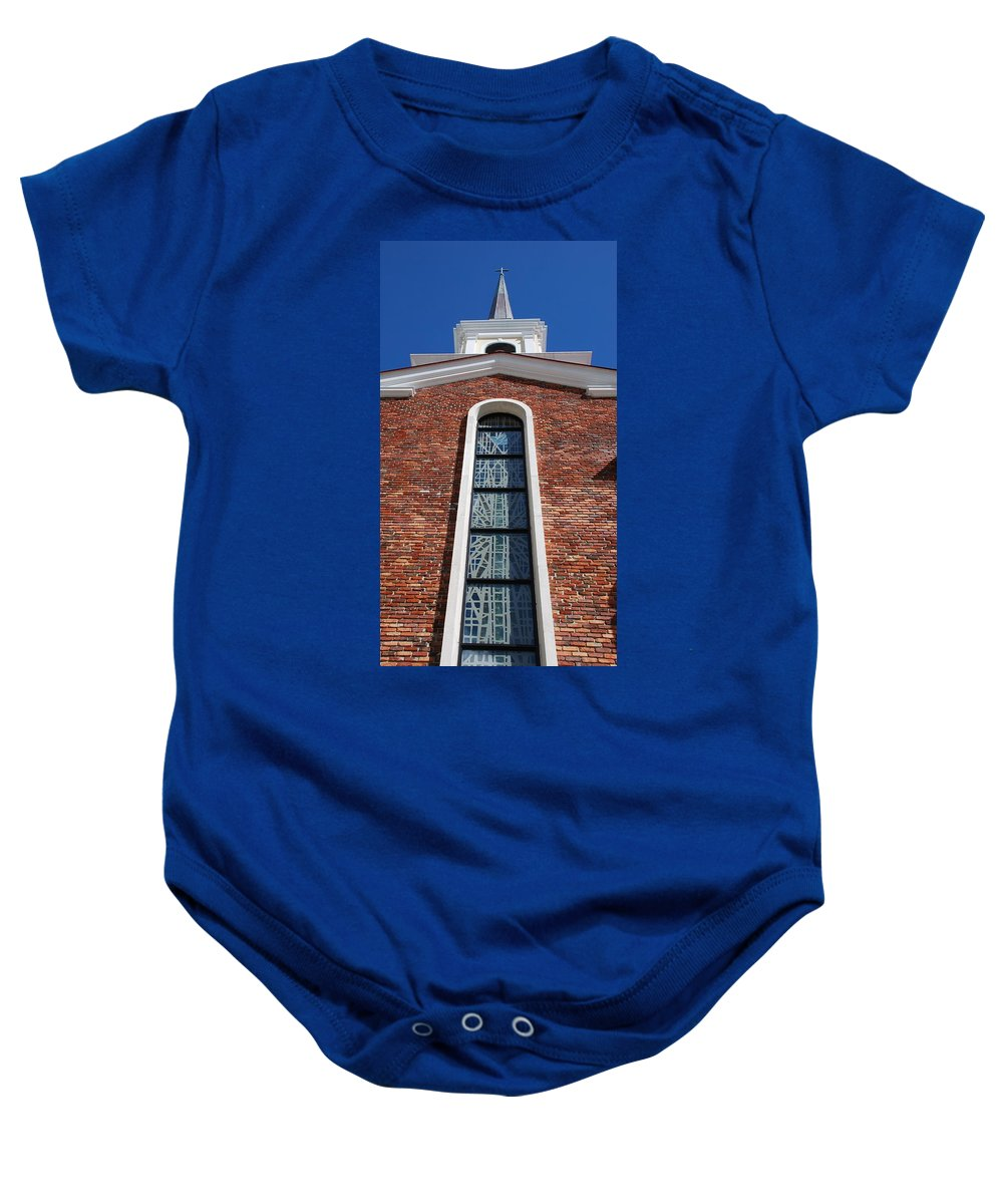 Architecture Baby Onesie featuring the photograph Brick Church by Rob Hans