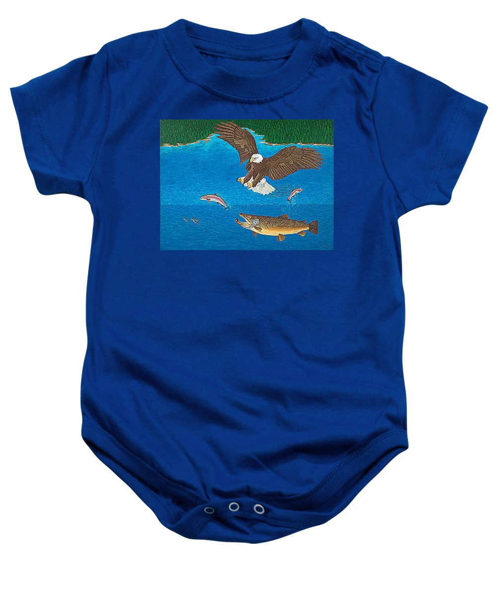 Brown Trout Baby Onesie featuring the painting Brown Trout Eagle Rainbow Trout Art Print Giclee Wildlife Nature Lake Art Fish Artwork Decor by Baslee Troutman