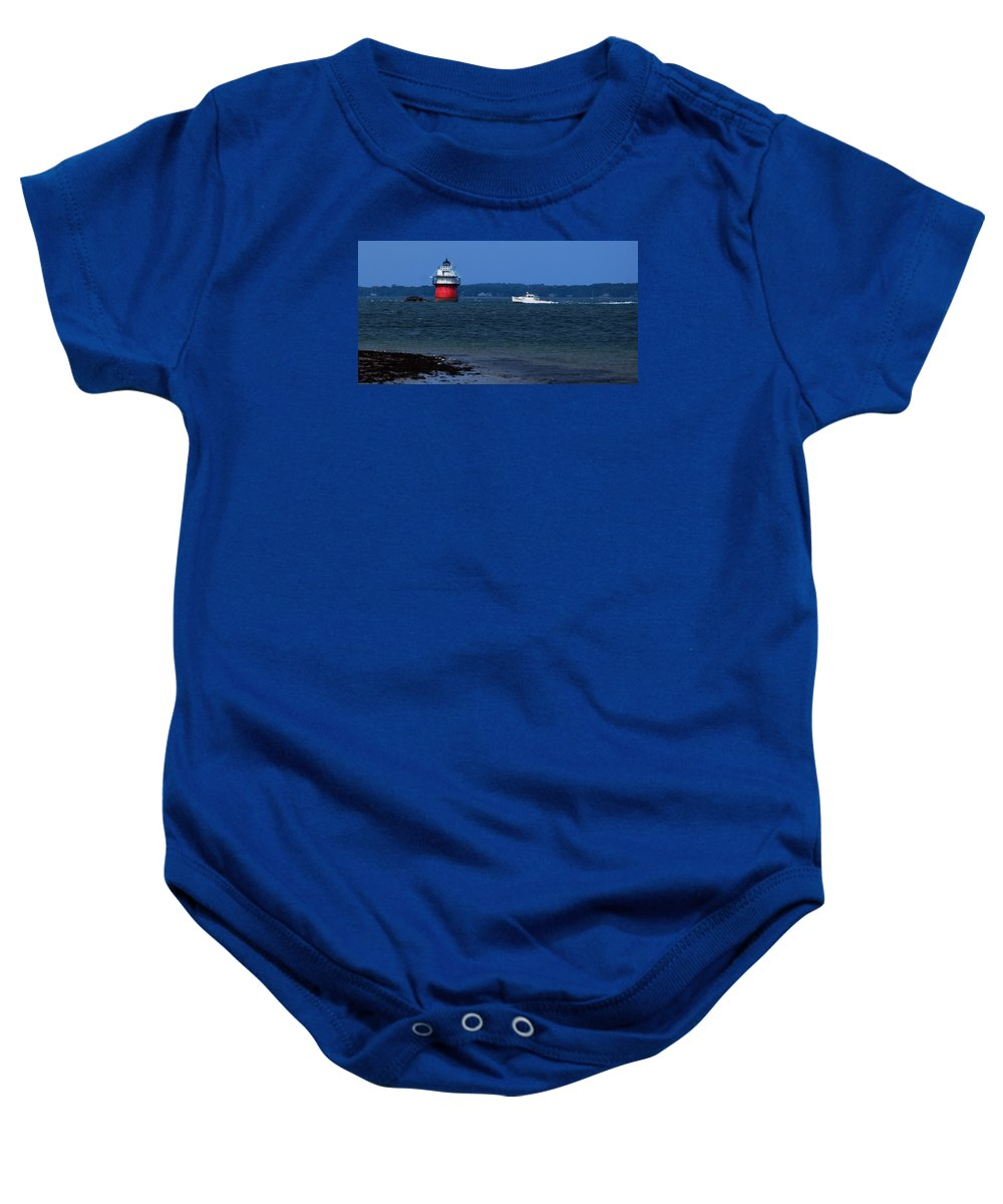 Bug Light And Lobster Boat From Long Beach Plymouth Baby Onesie featuring the photograph Bug Light And Lobster Boat by Bill Driscoll