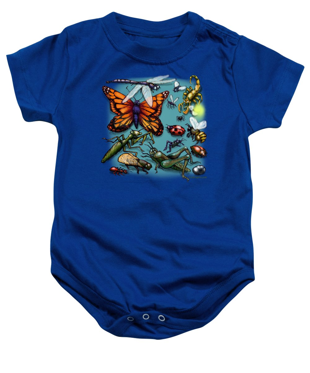 Bug Baby Onesie featuring the painting Bugs by Kevin Middleton