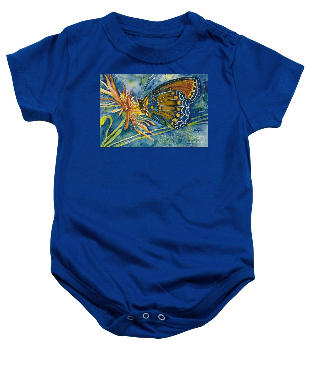 Butterflies Baby Onesie featuring the painting Butterfly In Ca by Norma Boeckler