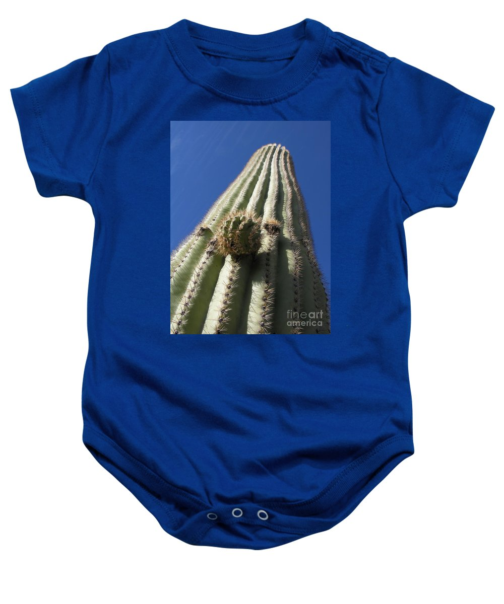 Cactus Baby Onesie featuring the photograph Cactus In The Sky by Diane Greco-Lesser
