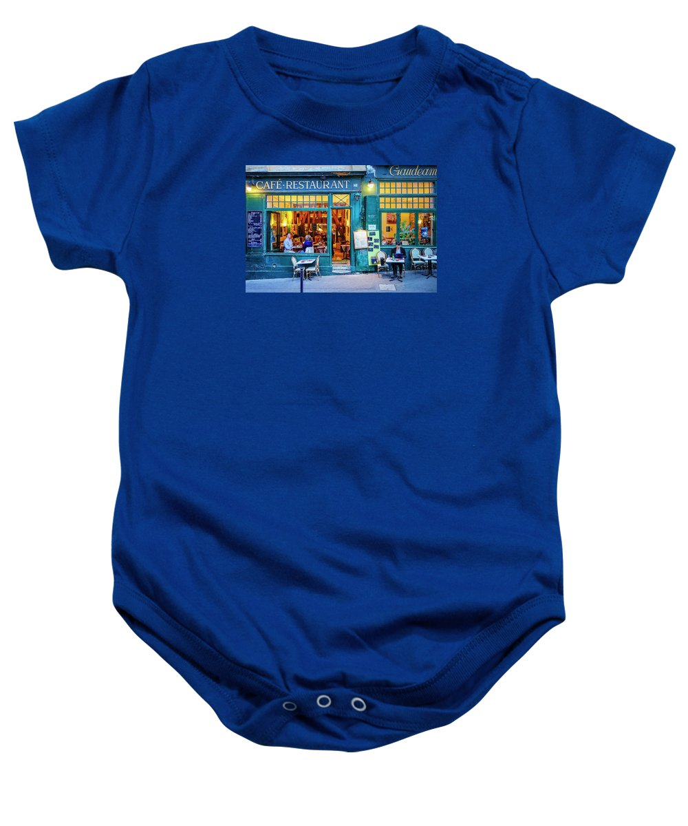 Paris Baby Onesie featuring the photograph Cafe Restaurant by David Thompson