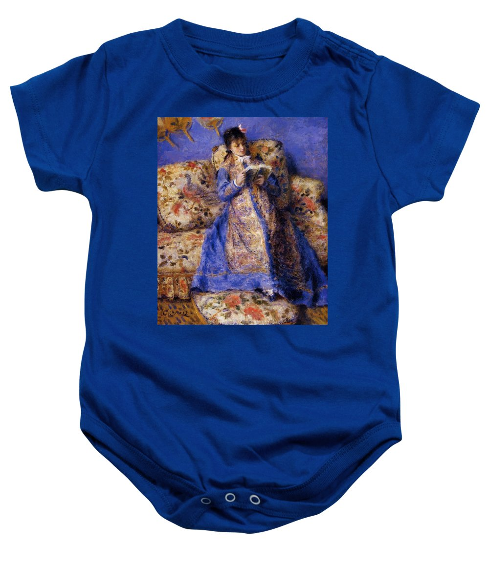 Camille Baby Onesie featuring the painting Camille Monet Reading 1872 by Renoir PierreAuguste