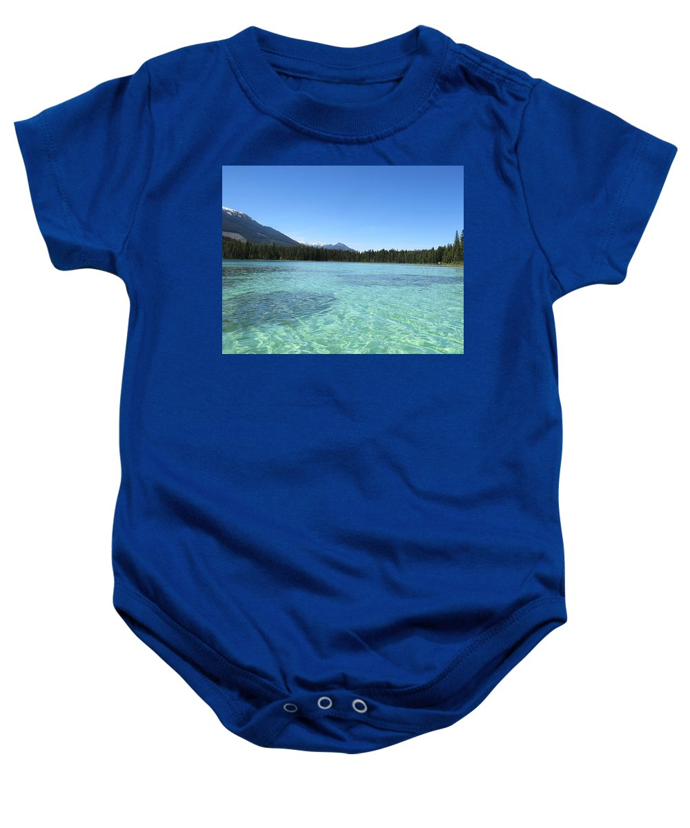 Bonnielouferris.com_naturewildlifephotography.rocks. Water Lake River Baby Onesie featuring the photograph Canadian Paradise In The Mountains by Bonnie-Lou Ferris