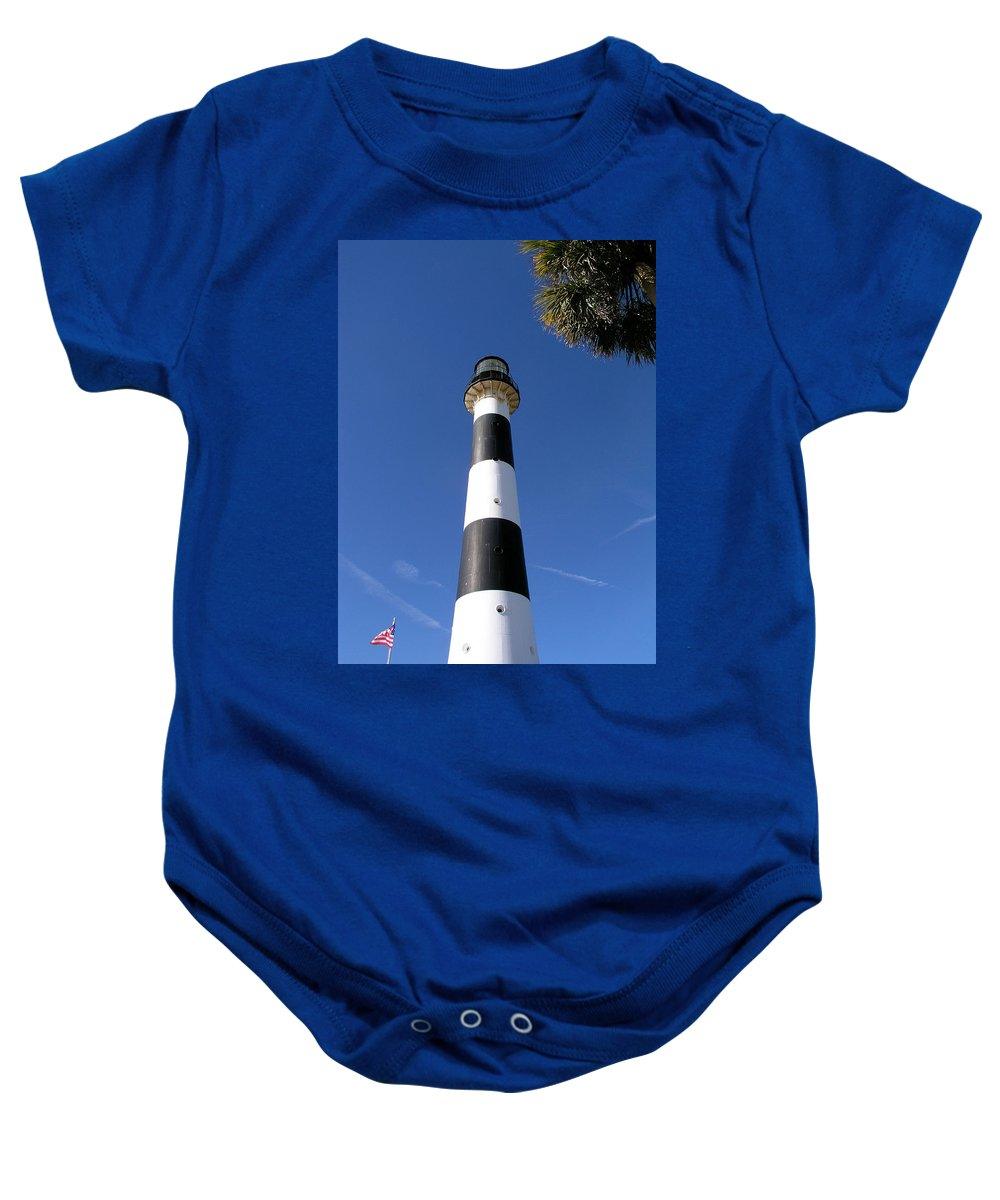 Cape; Canaveral; Light; Lighthouse; Lighthousekeeper; Keeper; Stairs; Kennedy; Space; Center; Air; F Baby Onesie featuring the photograph Canaveral Light by Allan Hughes
