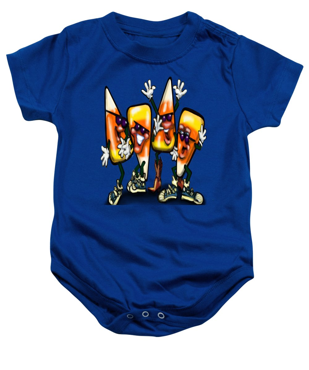Candy Baby Onesie featuring the digital art Candy Corn Gang by Kevin Middleton