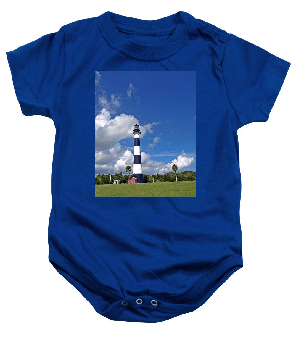 Lighthouse; Light; Canaveral; Cape; Cape Canaveral; Ccafs; Florida; East; Coast; Kennedy; Space; Cen Baby Onesie featuring the photograph Cape Canaveral Light In Florida by Allan Hughes
