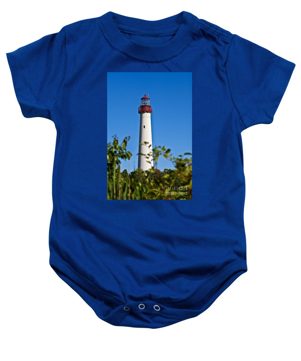 Cape May Baby Onesie featuring the photograph Cape May Lighthouse by John Greim