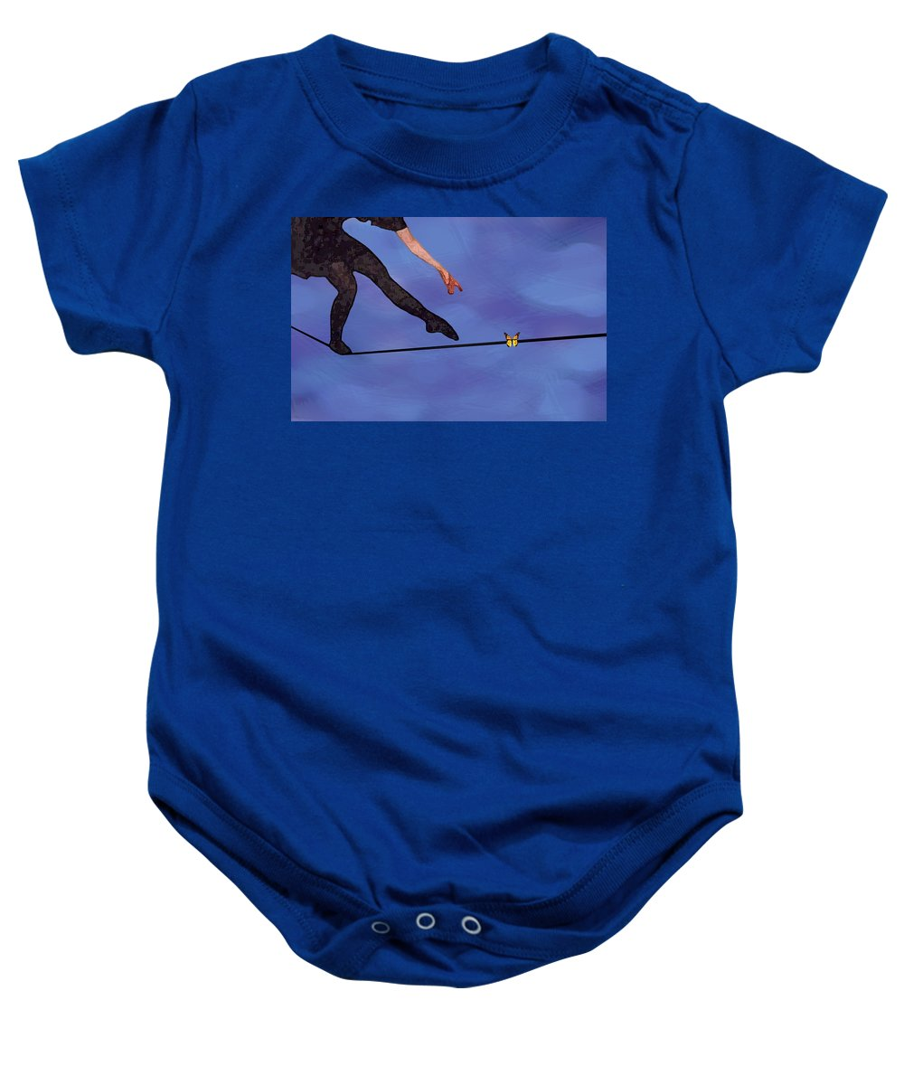 Surreal Baby Onesie featuring the painting Catching Butterflies by Steve Karol