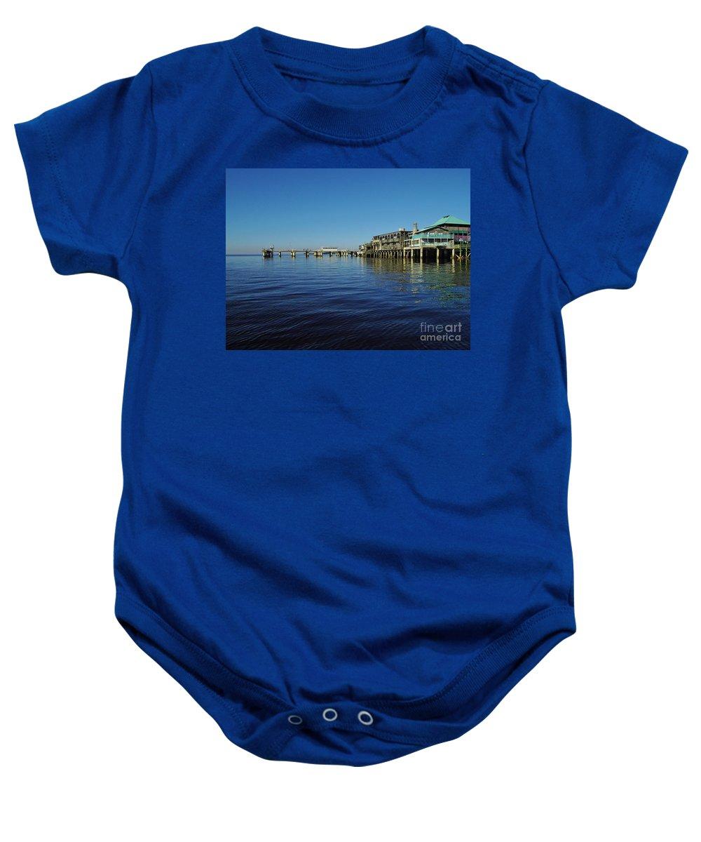 Cedar Key Baby Onesie featuring the photograph Cedar Key Pier by D Hackett