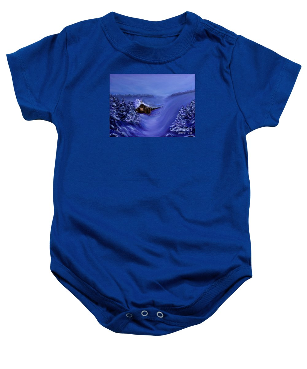 Christmas Baby Onesie featuring the painting Christmas Eve by Nina Nabokova