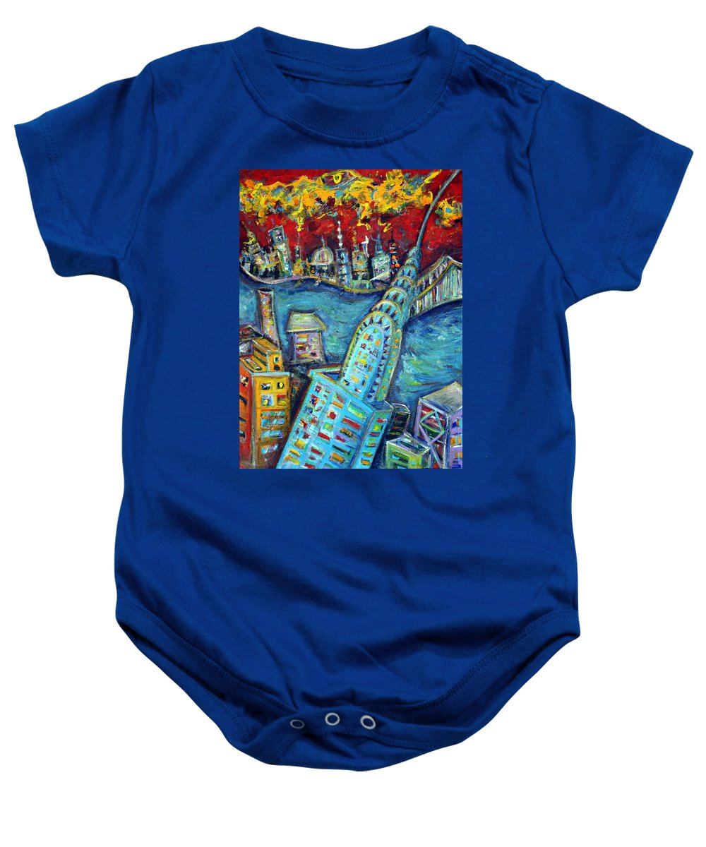 New York City Baby Onesie featuring the painting Chrysler Building by Jason Gluskin