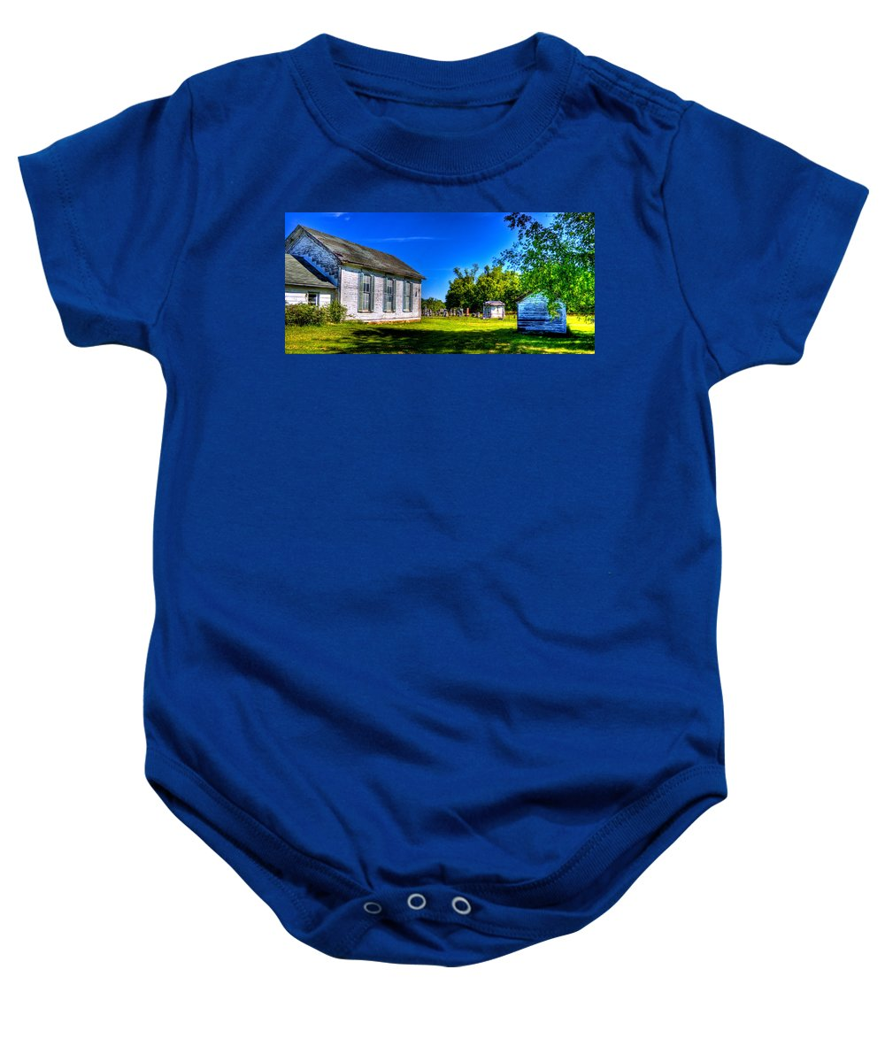 Church Baby Onesie featuring the photograph Church And Graveyard by Jonny D