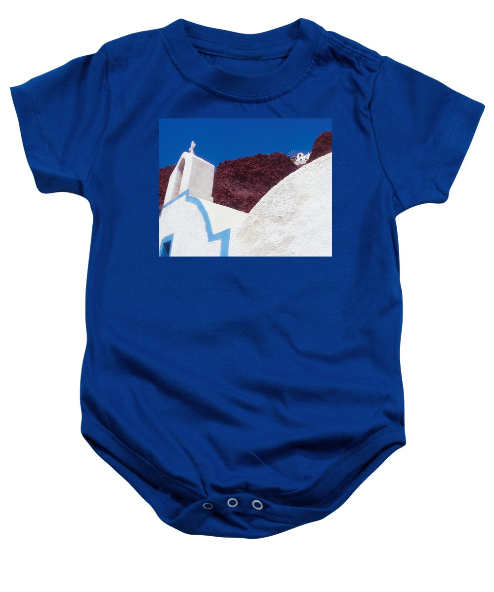 Greece Baby Onesie featuring the photograph Church And Windmill In Santorini Greece by Yuri Lev