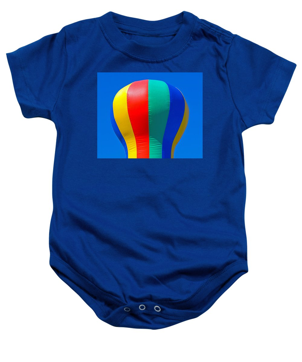 Red; Green; Yellow; Blue; Pillow; Sky; Circus; Carnival; Country; Fair; Ball; Balloon; Colors; Color Baby Onesie featuring the photograph Circus In The Sky - Two by Allan Hughes