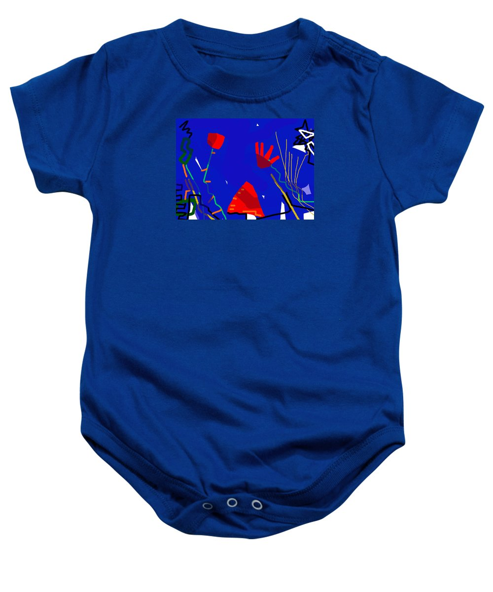 New York Baby Onesie featuring the painting City Of Maisons by Paul Sutcliffe