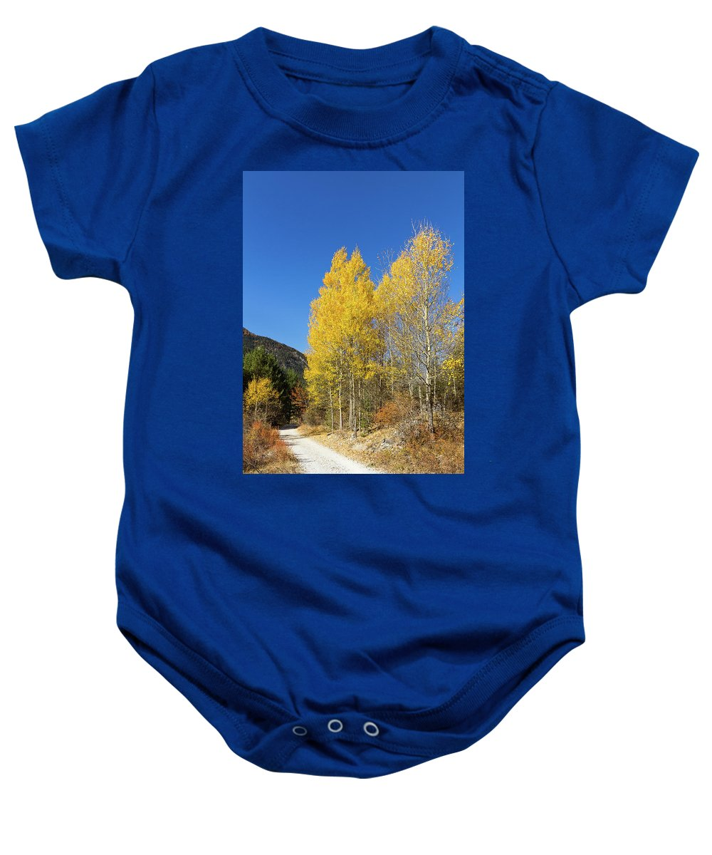 Colors Of Fall Baby Onesie featuring the photograph Claree Valley In Autumn - 11 - French Alps by Paul MAURICE