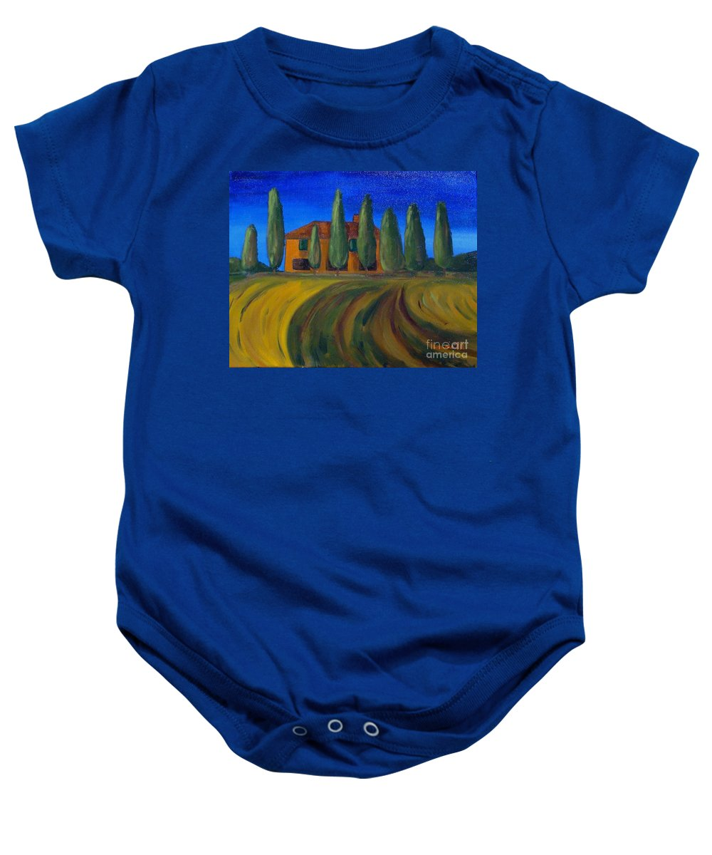 Tuscany Baby Onesie featuring the painting Classic Tuscan Sunset by Laurie Morgan