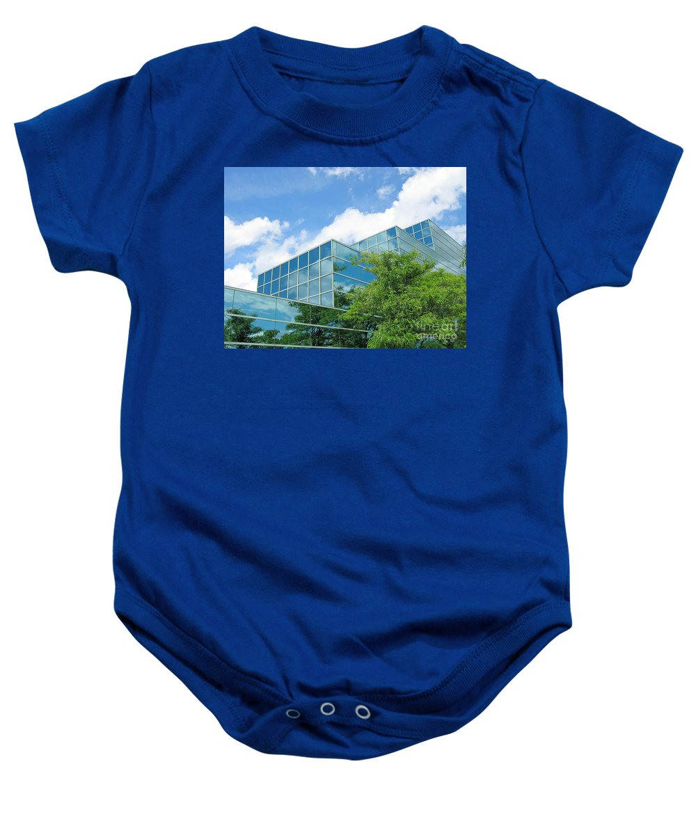 Architecture Baby Onesie featuring the photograph Climbing Skyward by Ann Horn