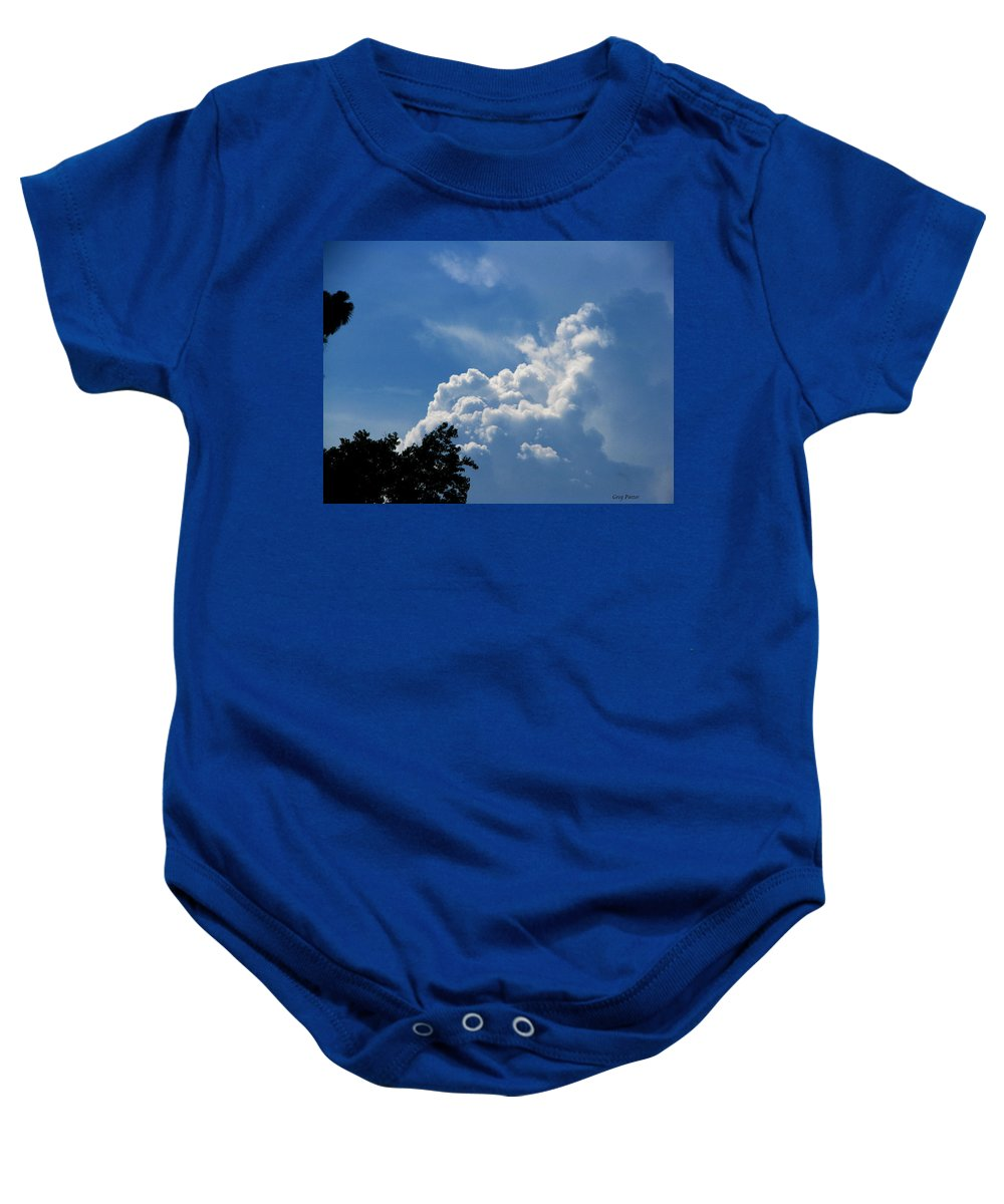 Patzer Baby Onesie featuring the photograph Clouds Of Art by Greg Patzer