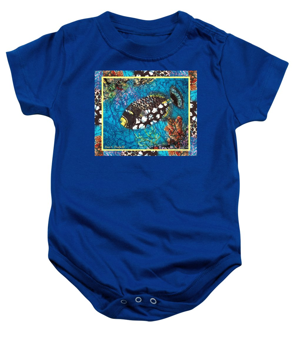 Batik Baby Onesie featuring the painting Clown Triggerfish-bordered by Sue Duda