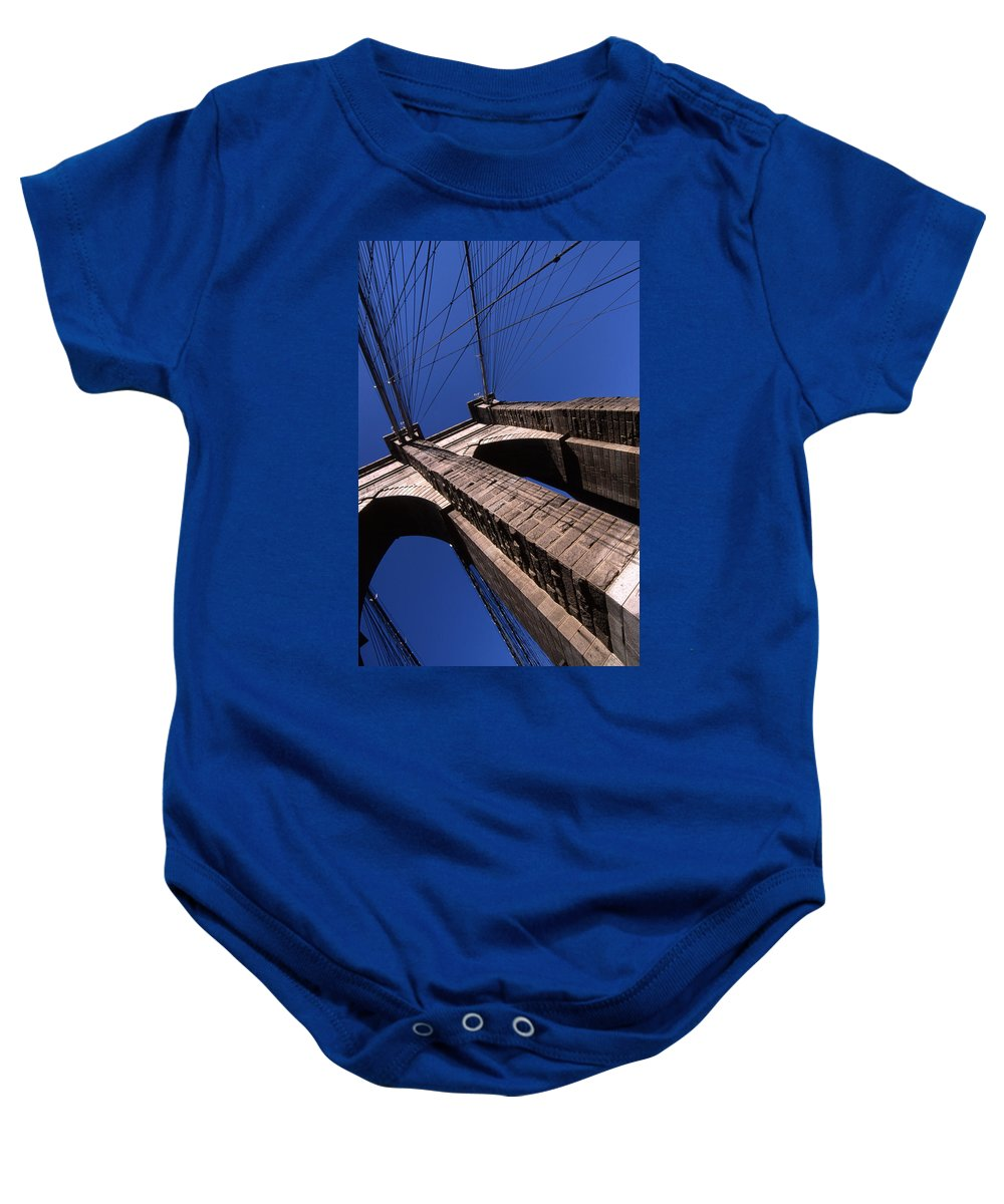 Landscape Brooklyn Bridge New York City Baby Onesie featuring the photograph Cnrg0408 by Henry Butz