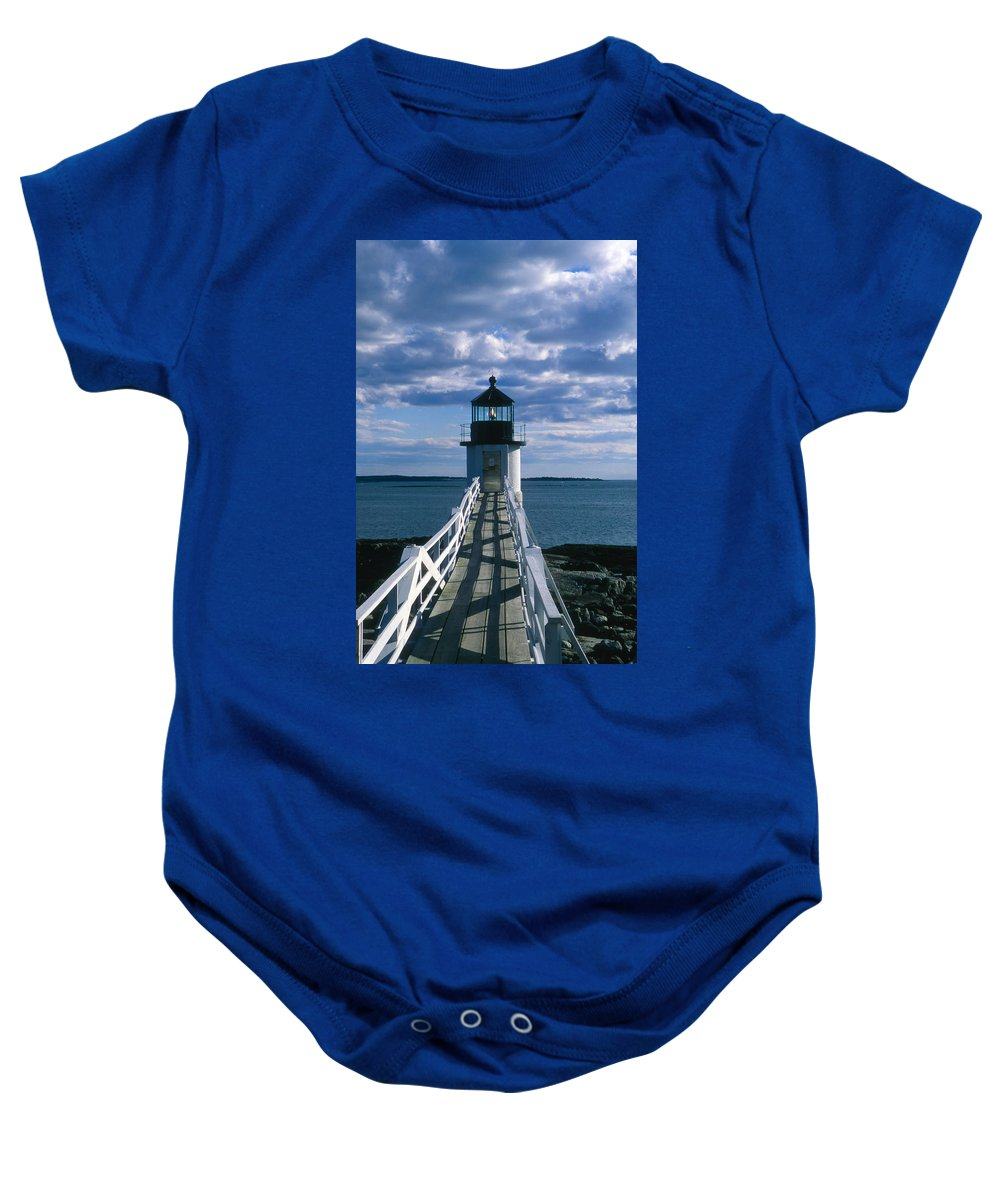 Landscape Lighthouse New England Marshall Point Light Port Clyde Baby Onesie featuring the photograph Cnrh0603 by Henry Butz