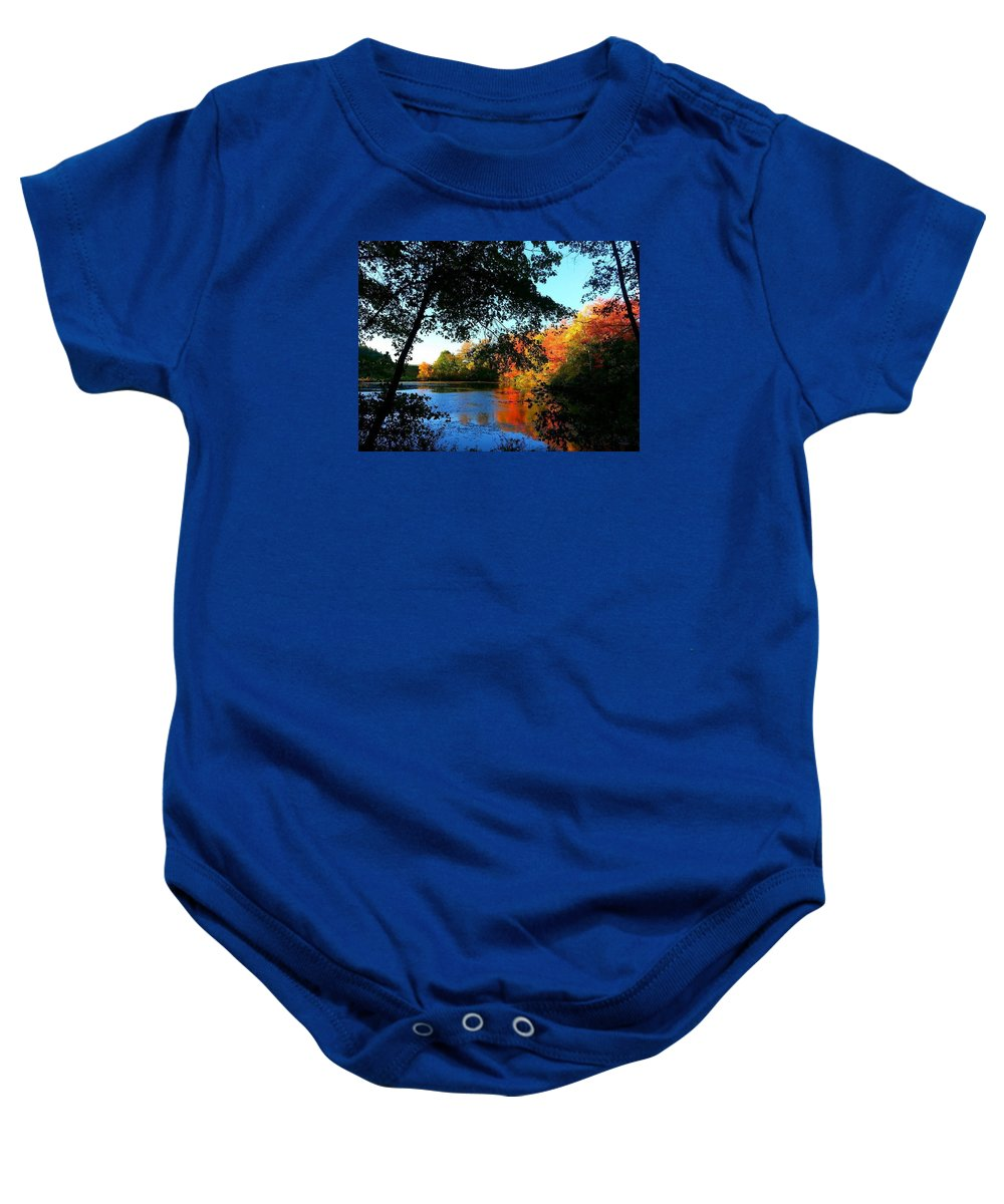 Autumn Baby Onesie featuring the photograph Color Leak by Dani McEvoy