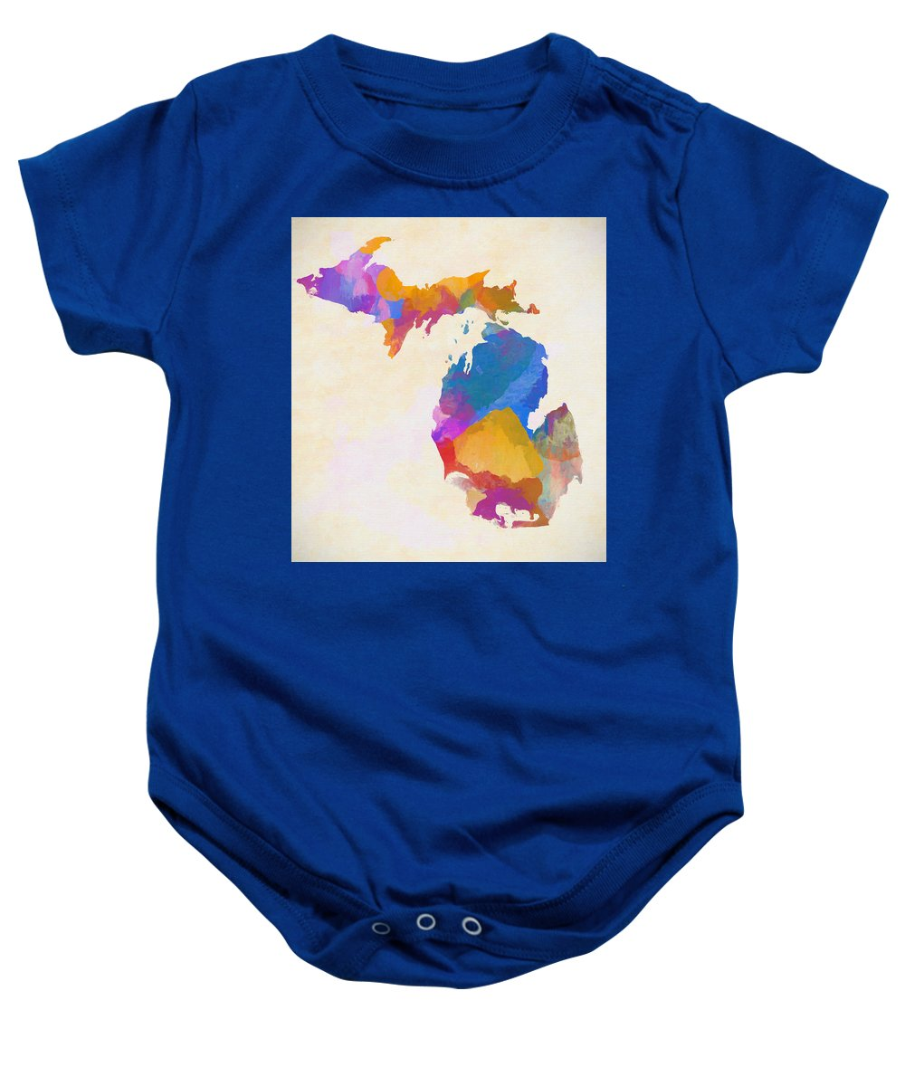 Colorful Baby Onesie featuring the painting Colorful Michigan by Dan Sproul