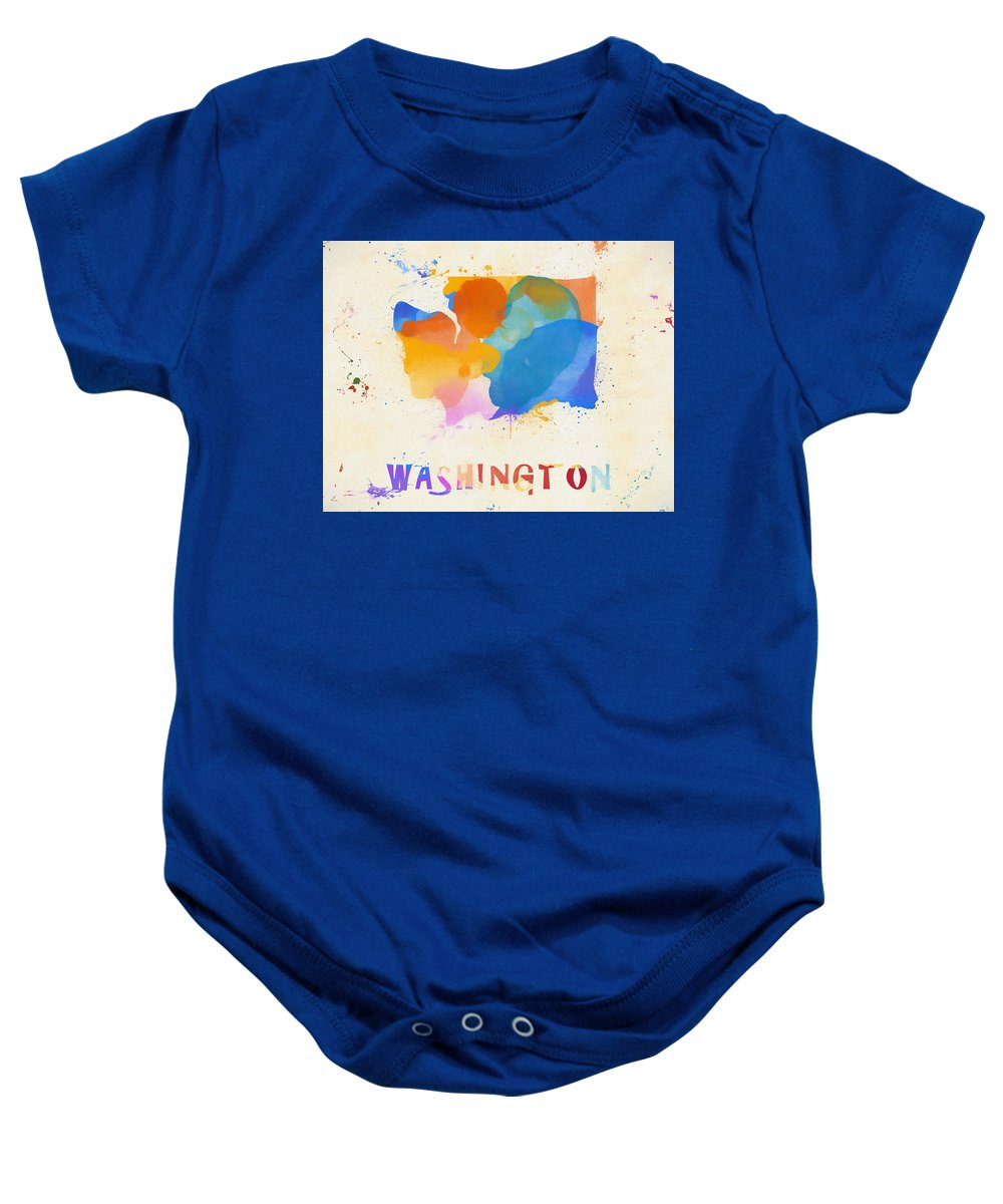 Colorful Washington State Map Baby Onesie featuring the painting Colorful Washington State Map by Dan Sproul