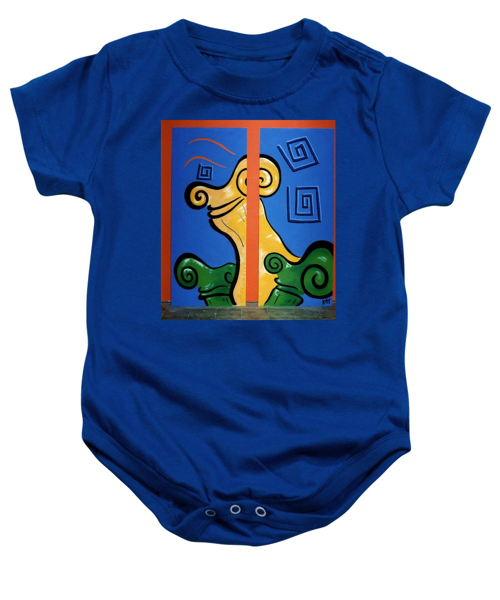 Baby Onesie featuring the painting Columns by Catt Kyriacou