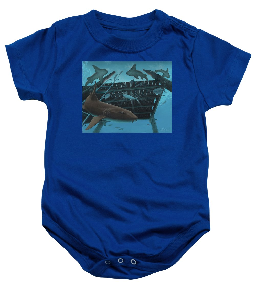 Bahamas Baby Onesie featuring the painting Compass Cay by Ryan Sobel