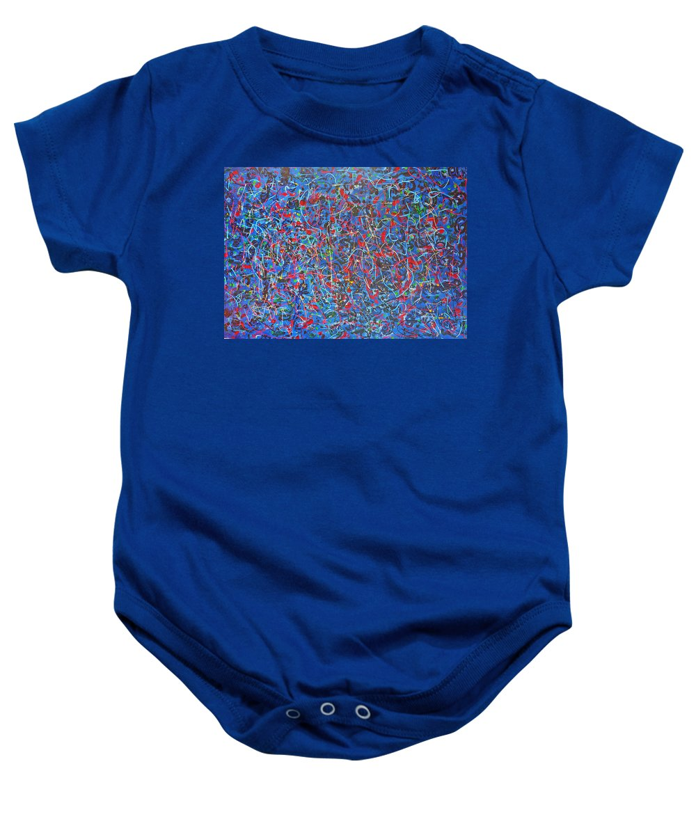 Abstract Baby Onesie featuring the painting Confetti by Ericka Herazo