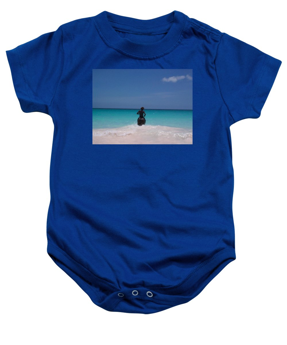Charity Baby Onesie featuring the photograph Cool Off Man by Mary-Lee Sanders