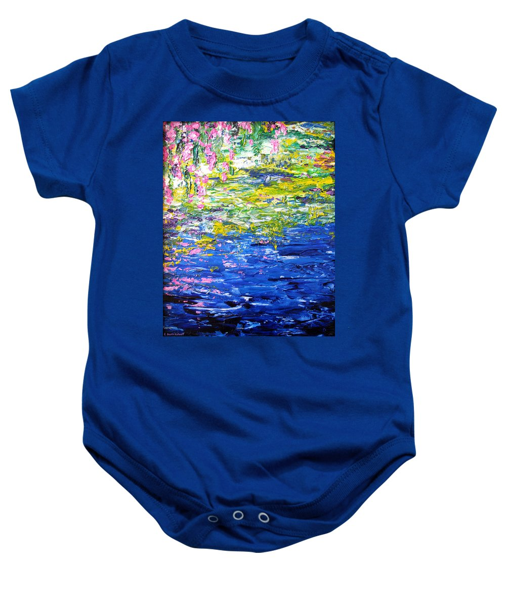 Water Baby Onesie featuring the painting Cool Waters by Elaine Booth-Kallweit
