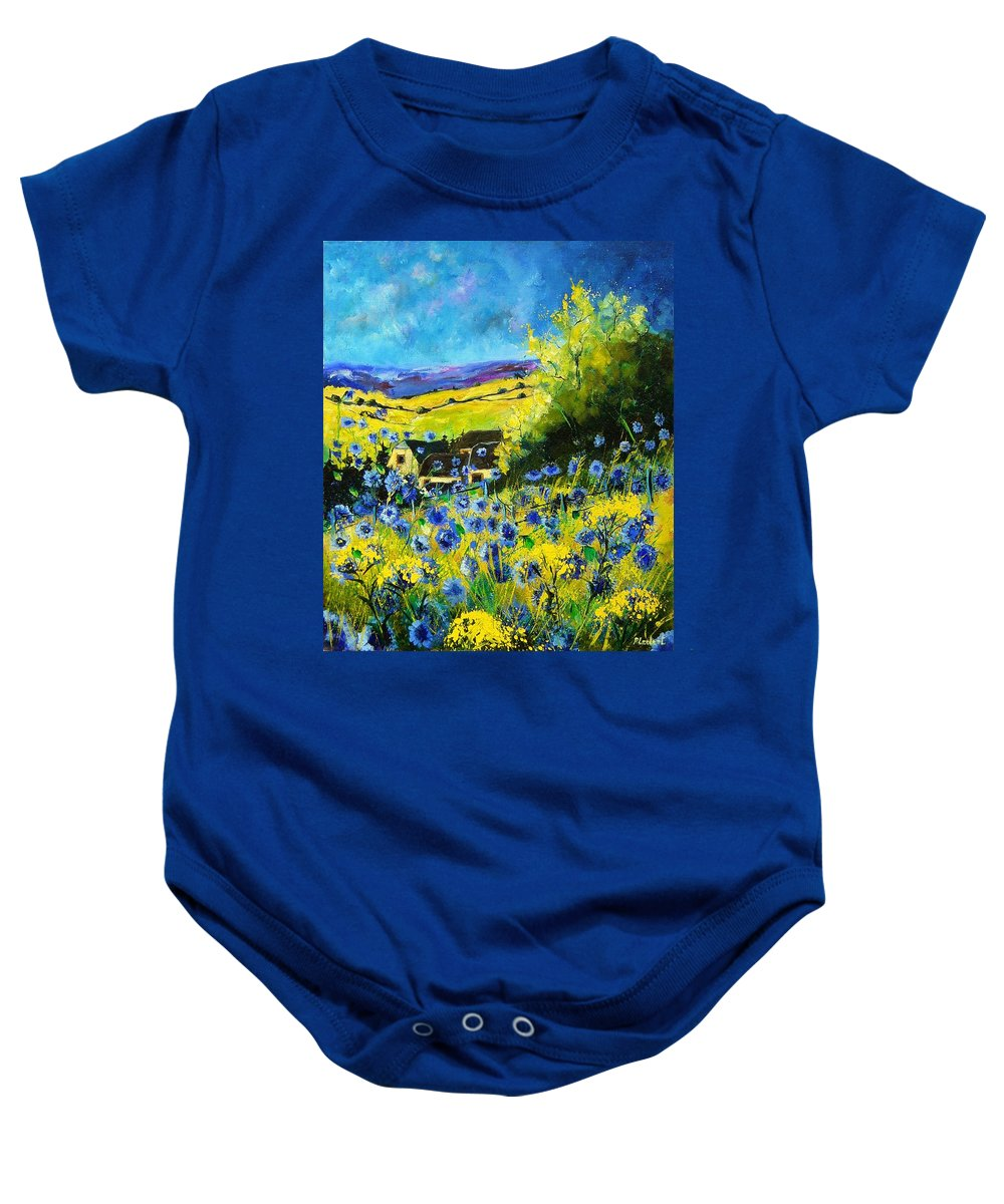 Flowers Baby Onesie featuring the painting Cornflowers In Ver by Pol Ledent