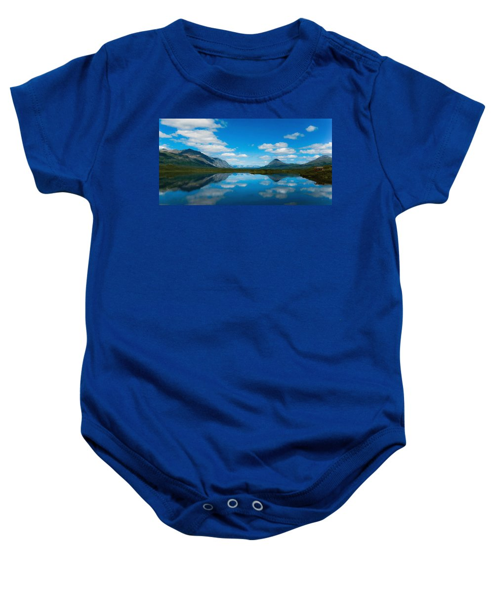 Beauty Spot Baby Onesie featuring the digital art Cottage At Lake by Max Steinwald