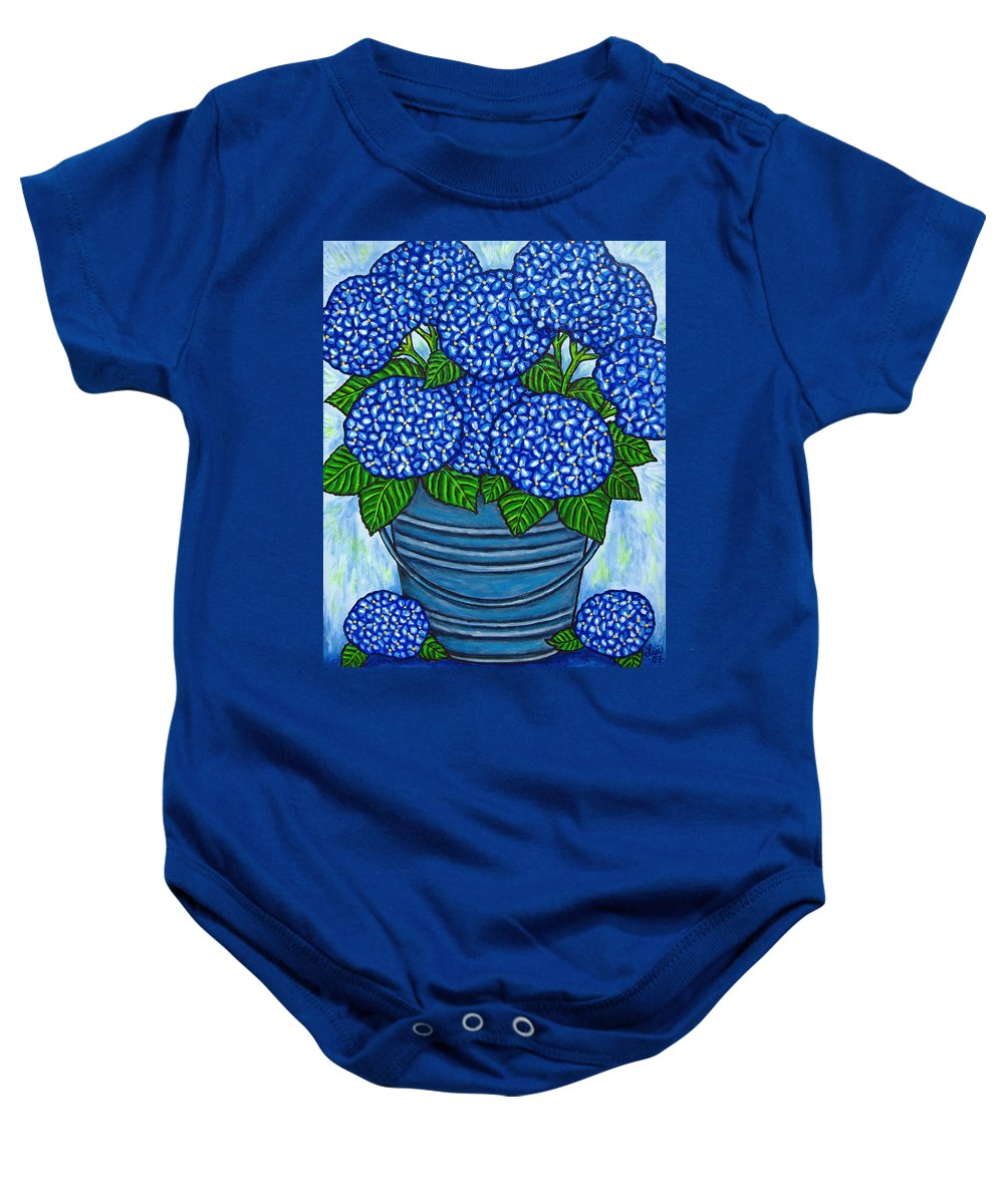 Blue Baby Onesie featuring the painting Country Blues by Lisa Lorenz