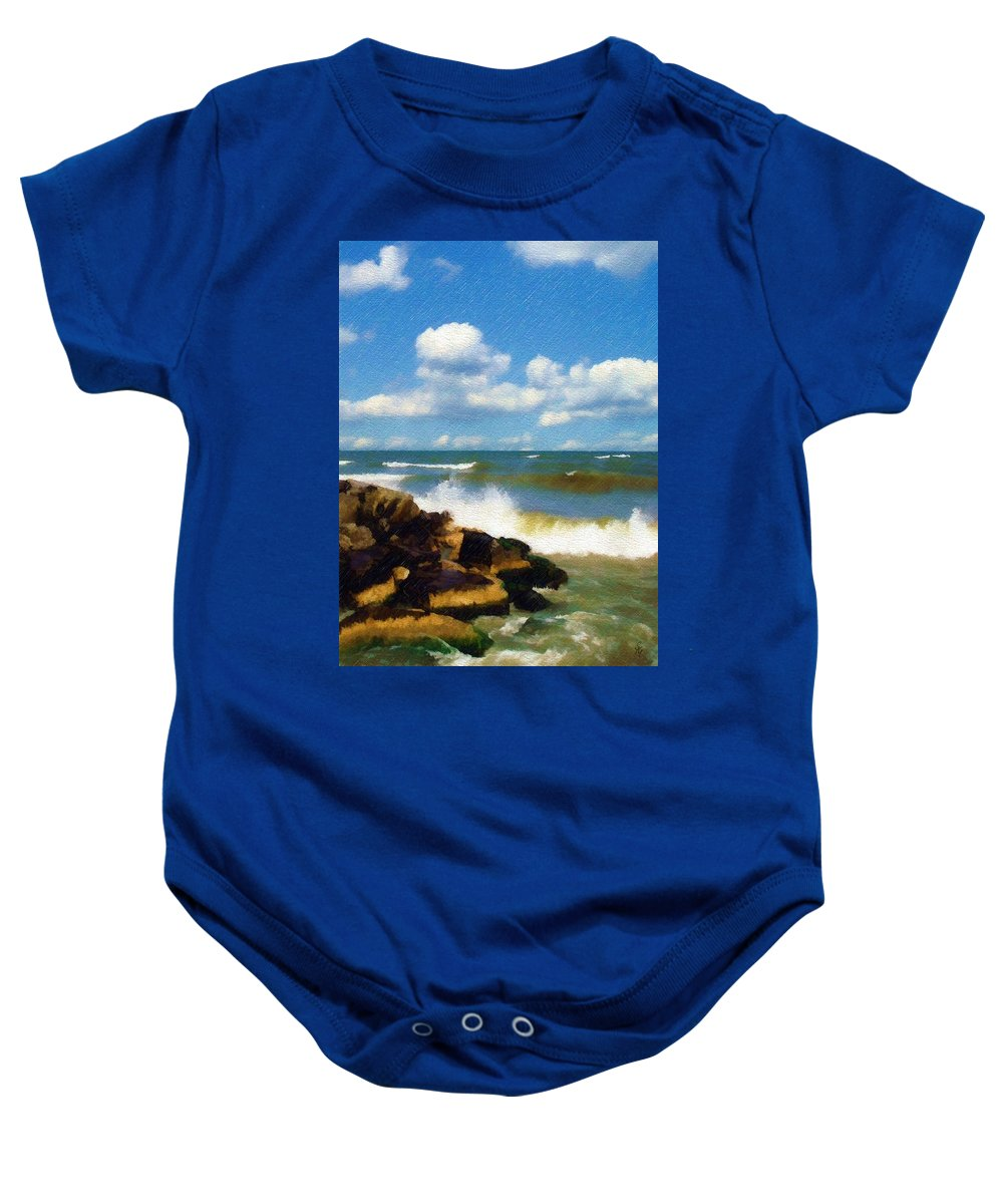 Seascape Baby Onesie featuring the photograph Crashing Into Shore by Sandy MacGowan