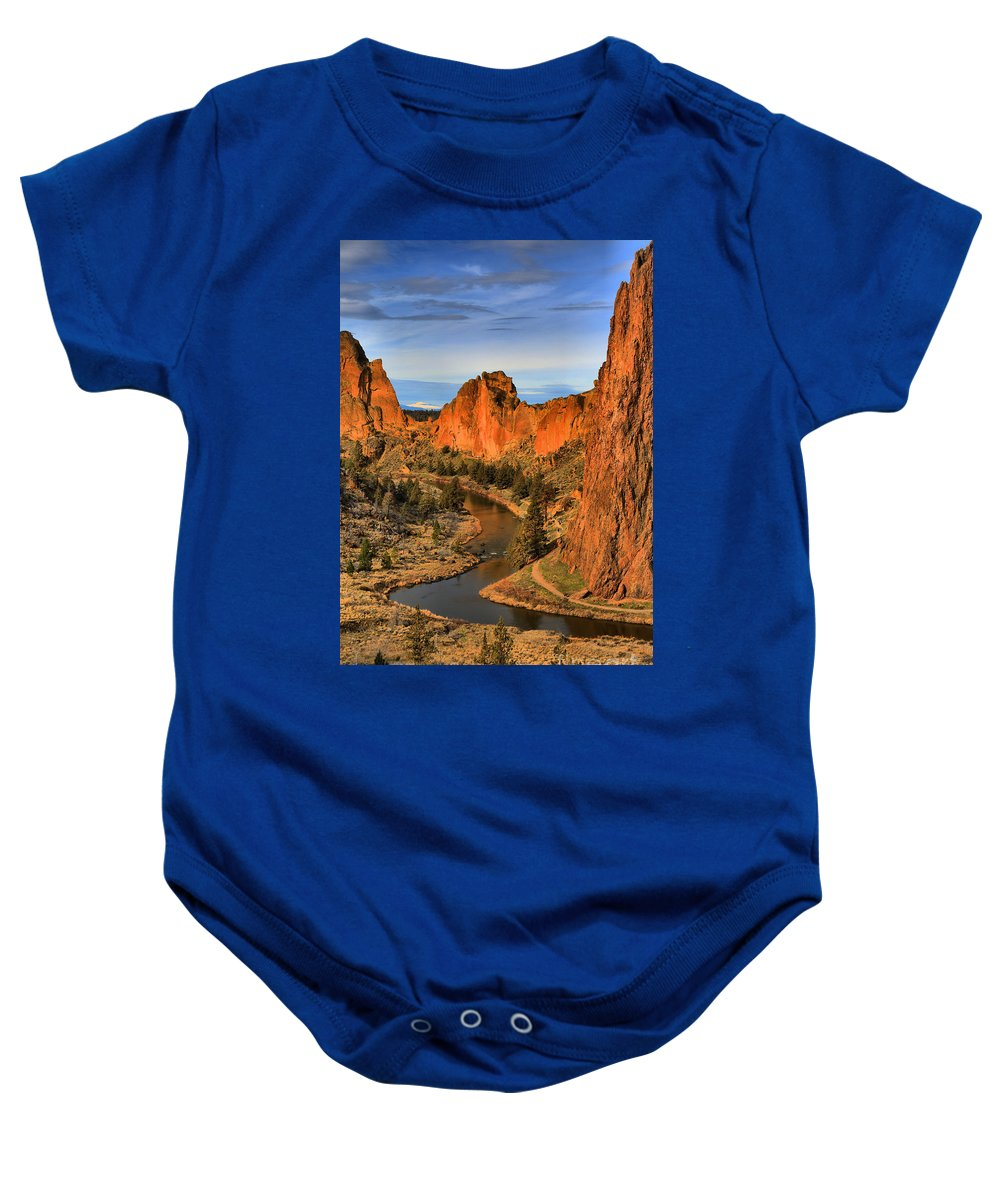 Smith Rock Baby Onesie featuring the photograph Crooked Riverbend Portrait by Adam Jewell