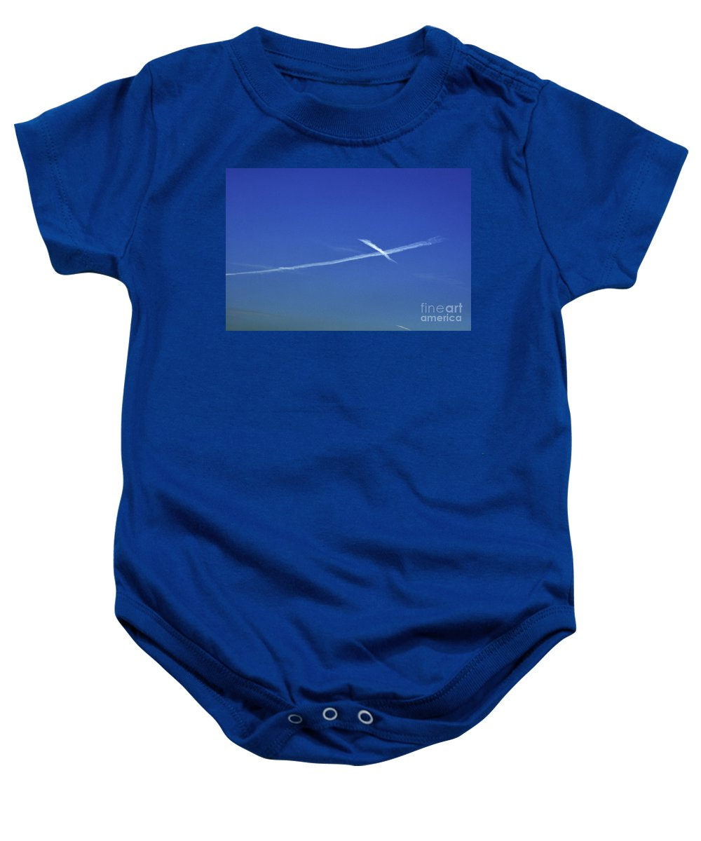 Clay Baby Onesie featuring the photograph Cross In The Sky by Clayton Bruster